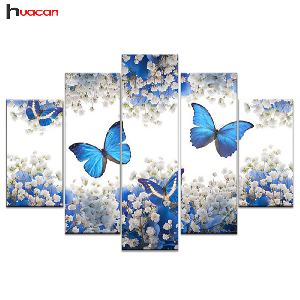 Huacan DIY Full Square Diamond Painting Butterfly Multi-picture Combination Embroidery Cross Stitch Mosaic Decor Gift 5 pcs/set