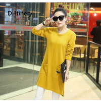 Delivery specials 2017 medium long plus size clothing basic shirt long sleeve Black, Yellow, Wine Red, Red T shirt loose BS7223