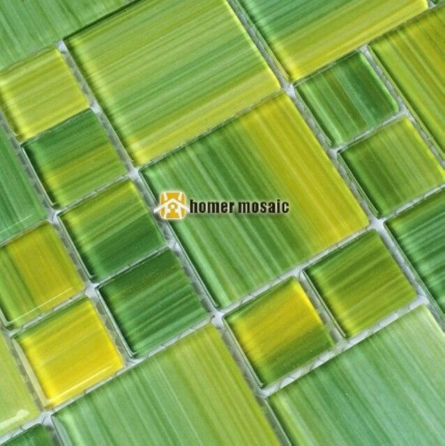 € 187.08 10% de réduction|Brillant frais vert mixte jaune cristal en verre  pour salle de bains douche tuiles dosseret de cuisine carreaux HMB1434 ...