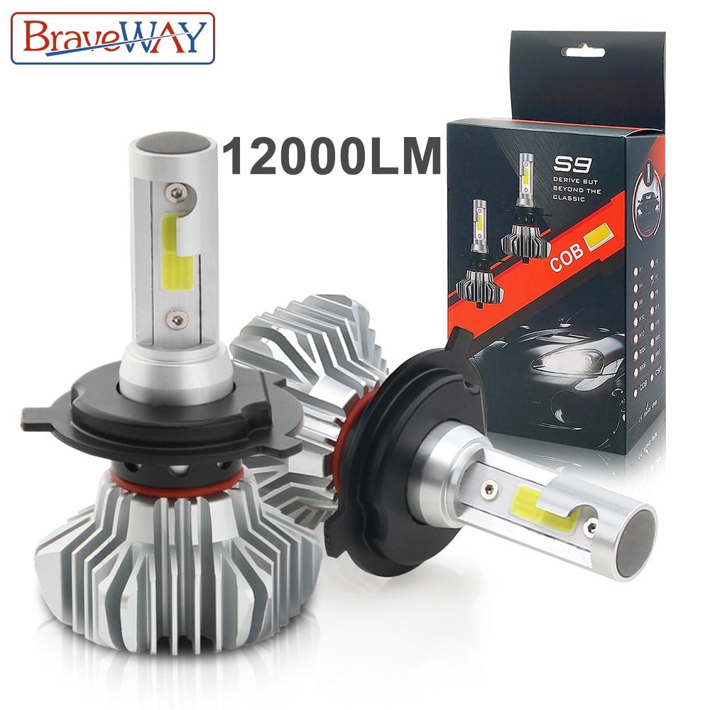 BraveWay LED Voiture Lumière H4 H7 H8/H11 9005 9006 H1 BH3 BH4 Projecteur 12000LM 6500 k 80 w 12 v LED Ampoule pour Auto Led Phare pour les Voitures