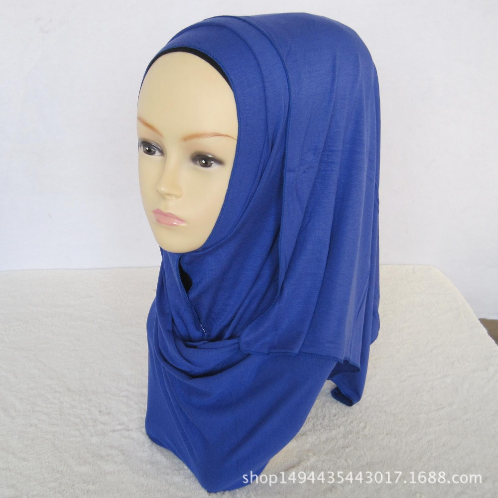 New Women Plain Jersey Hijab Cotton Muslim Head Scarves Solid Color Long Rectangle Shawl Soft Headscarf