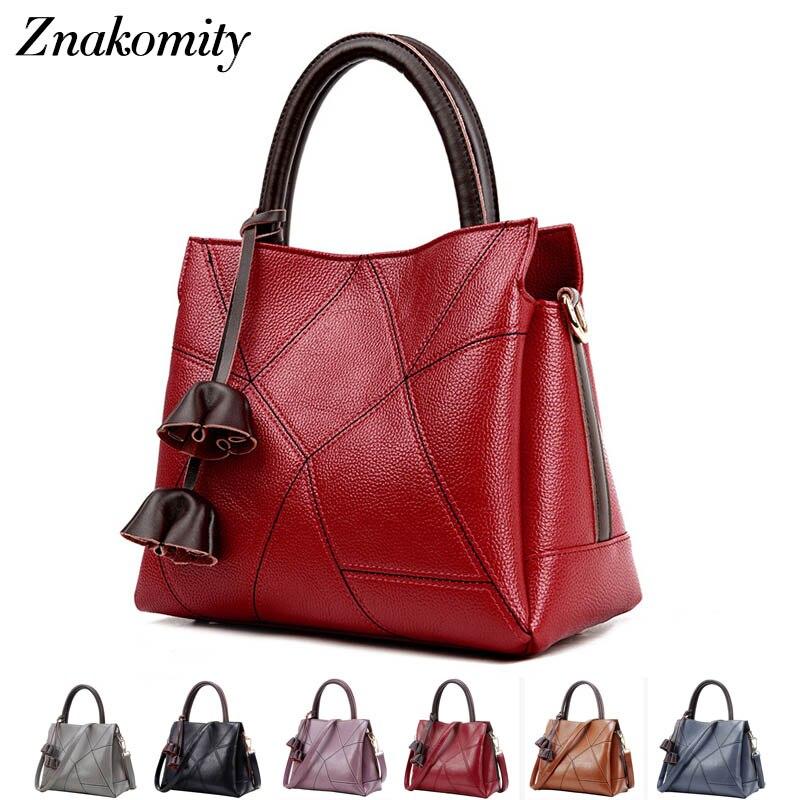 Znakomity Black Red women's leather handbag female tassels Fashion handbags Top-handle hand bag woman Casual tote Shoulder bag metal ring tassels colour block tote bag