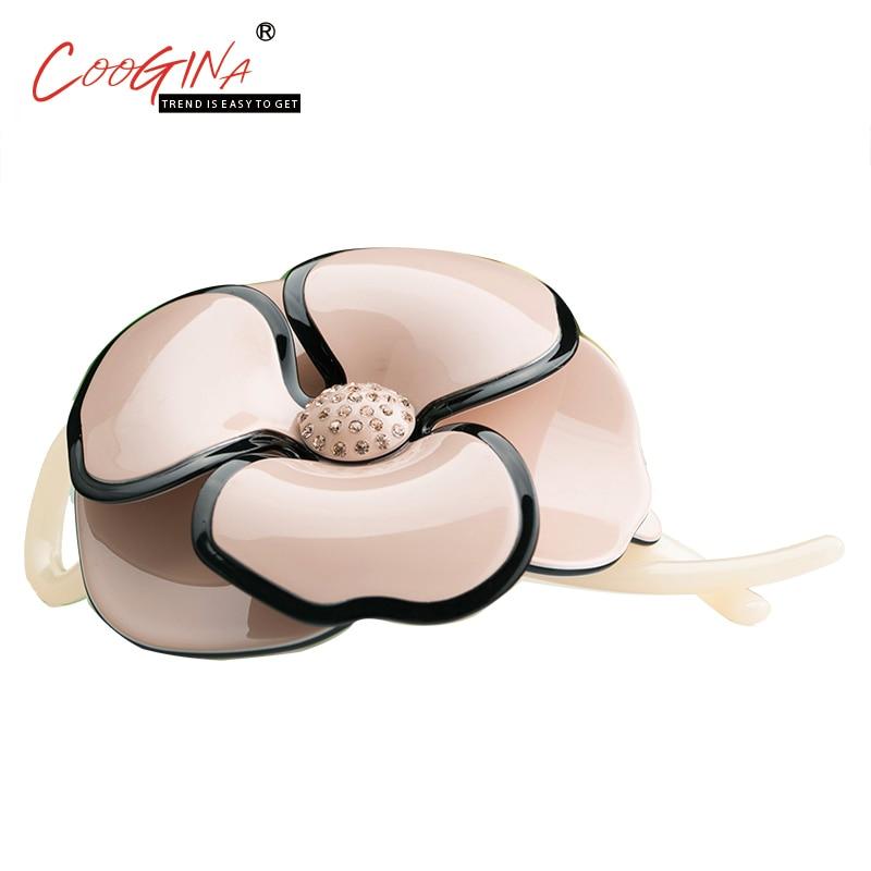 Coogina 2018 New High Quality Elegant Princess Flower Hair Accessories for Women Korean Banana Clips Lady Rhinestone Hair Clip