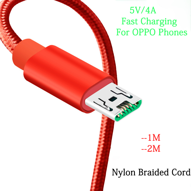 For Oppo 5V 4A Fast Charger Cable 100CM/200CM Micro USB Data Cable Nylon braided Cord For Oppo R7 R7s R9 R9s R11 R11s Plus R5