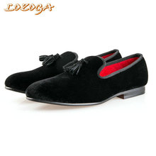Classic Men Shoes High Quality Casual Shoes Velvet Loafers Slip-On Brand Handmade Tassel Shoes Italian Fashion Luxury Shoes Flat