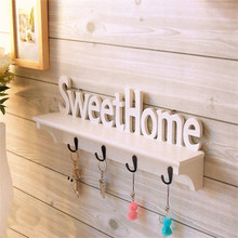 """1Pcs """"Sweet Home"""" wall Shelves with Hat Key Holders Storage Shelf hanging hooks Mounted Rack Home Hanger Decoration supplies"""