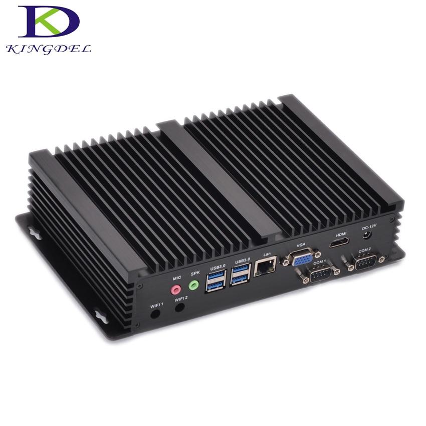 Fanless Industrial Mini PC Windows 10 Rugged ITX Aluminum Case Intel Core i7 5550u HTPC TV Box RS232 WiFi USB VGA Thin Client PC