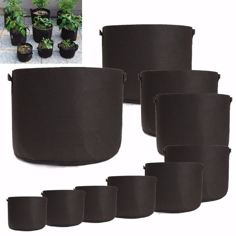 Grow-Bags Planting-Bag Fabric-Pots Handles Seedling-Flowerpot-Size 10-15-20-25-30-Gallon