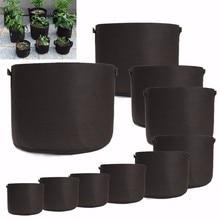 Черные тканевые горшки для выращивания растений, сумки с ручками для посадки, цветочный горшок для рассады, размер 1,2, 3,5, 7,10, 15,20, 25,30 галлонов