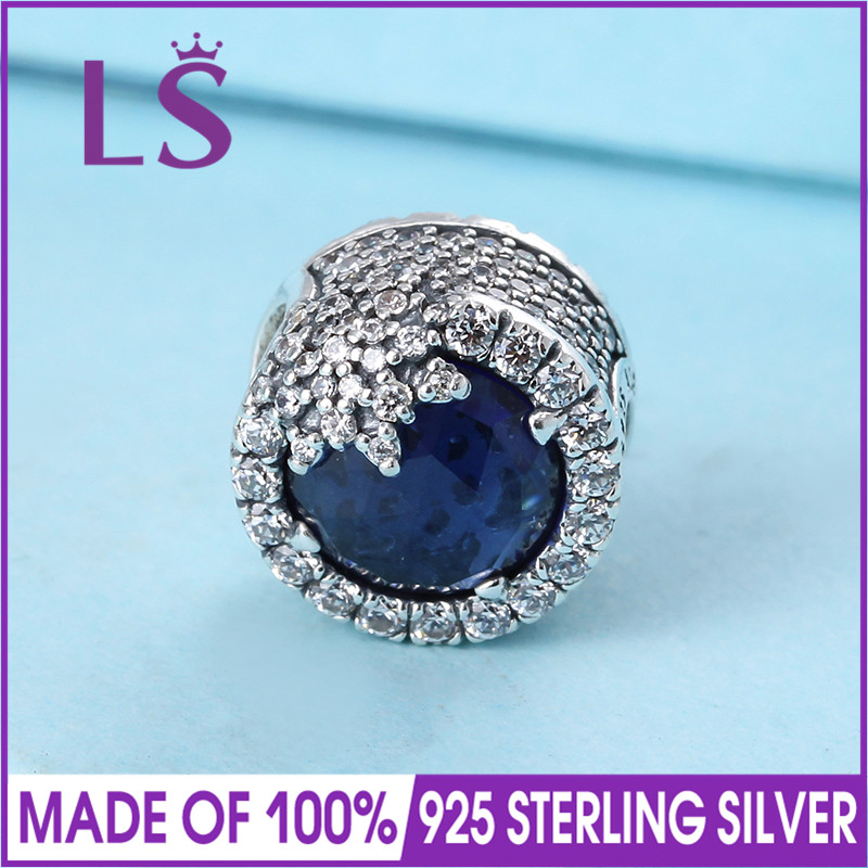 LS High Quality Real 925 Silver Blue Dazzling Snowflake Charms Bead Fit Original Bracelets Pulseira Encantos.100% Fine Jewlery.N