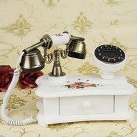 Fresh pastoral style classic Korean retro Qianchengsijin gift telephone antique Decoration home art phone Caller ID backlit