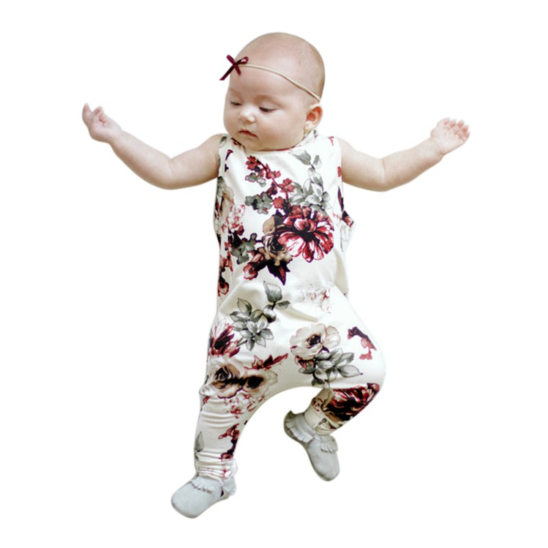 summer Girls peony sleeveless   romper   printing piecemeal jumpsuits open file Y13
