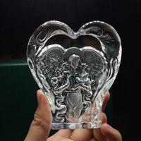 Belle En Forme de Coeur Cristal Prier Ange En Verre Ange Figurines Cadeaux Thanksgiving