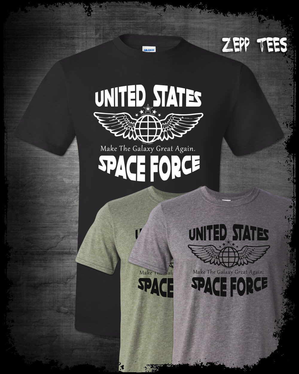 2019 Cool Trump Space Force T-Shirt Funny Make The Galaxy Great Again Meme USSF 2020 MAGA Tee image