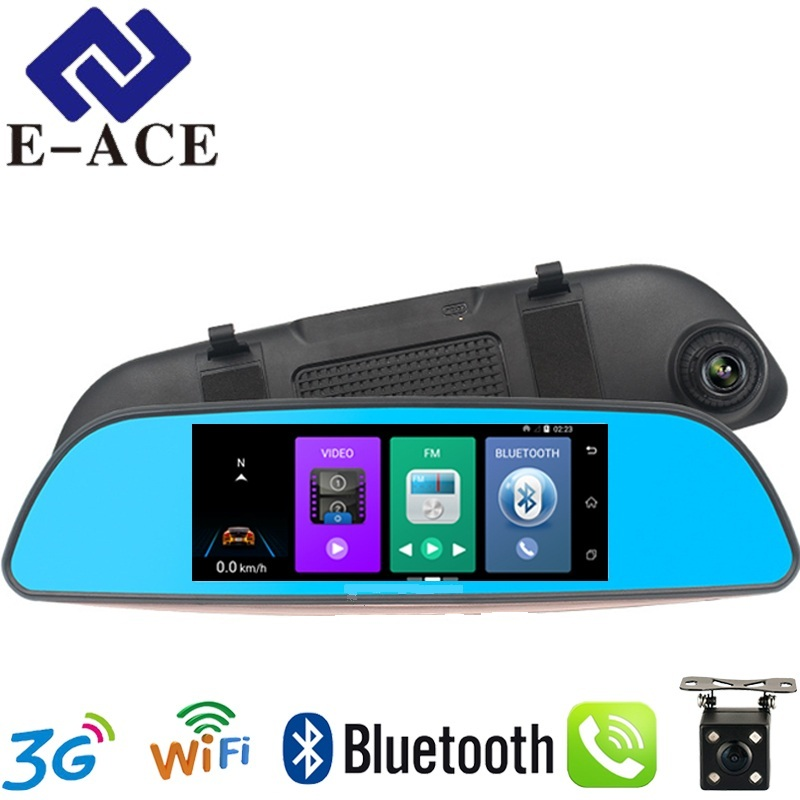 E-ACE 7.0 Inch Android GPS Car Dvr Radar Detector WIFI Bluetooth Automotive Rear View Mirror Camera Dashcam Dual Video Recorder