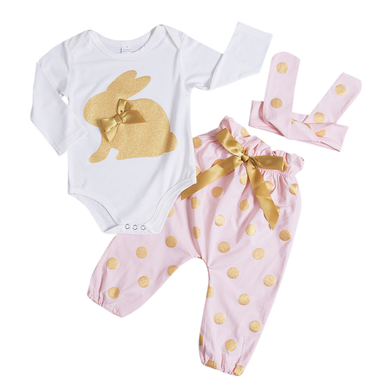 3Pcs New Casual Newborn Infant Baby Girls Clothes Print Animal Long Sleeve Romper Playsuit Long Pants Outfit