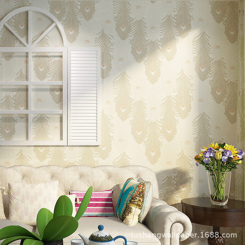 wall paper. Pune peacock feathers exotic Southeast thicker non-woven wallpaper the living room TV backdrop wallpaper