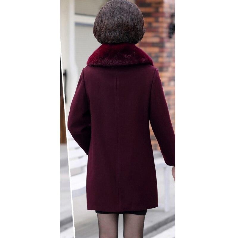 Automne De Mode Slim rouge Brodé Amovible Manteau Femmes Nouveau Fourrure Col Mélangée Vert Fleurs Casaco Hiver Laine pourpre vExFqnrXvT