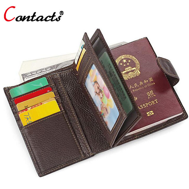 CONTACT'S Passport Cover Men Wallets Genuine Leather Card Holder Clutch Male Passport Holder Handy Passport Covers Bag Wallet