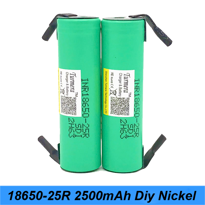 Original 18650 2500mah lithium battery with diy nickel inr1865025r 20a battery for font b electronic b