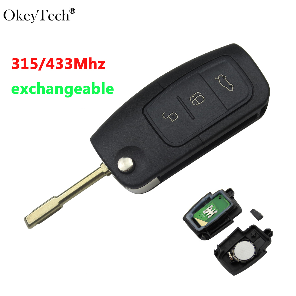 Okeytech 315/433MHz Exchange Remote Flip Car Key New 3 Buttons 4D60 Transponder Chip For Ford Focus Mondeo Festiva Fusion
