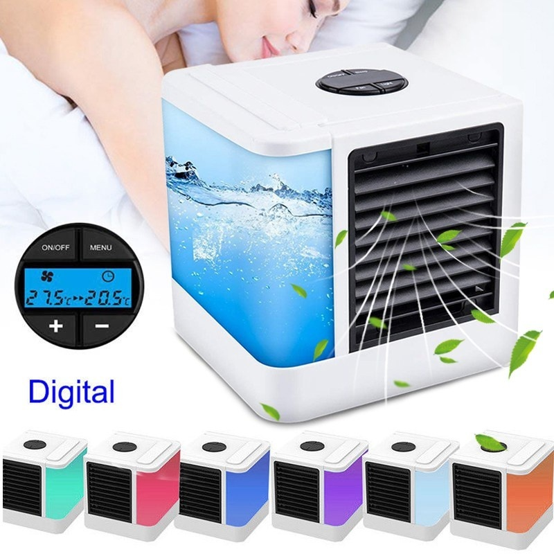 7 Color Lights Mini Air Conditioner Device Fans USB Portable Air Cooler Humidifiers Table Fan For Home Office Refrigerating