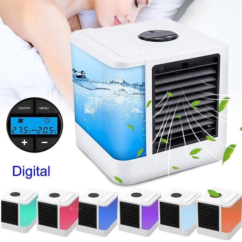 7 цветов свет мини Кондиционер вентиляторы устройств USB портативный охладитель воздуха Увлажнители Настольный вентилятор для дома и офиса Холодильный Кондиционеры      АлиЭкспресс