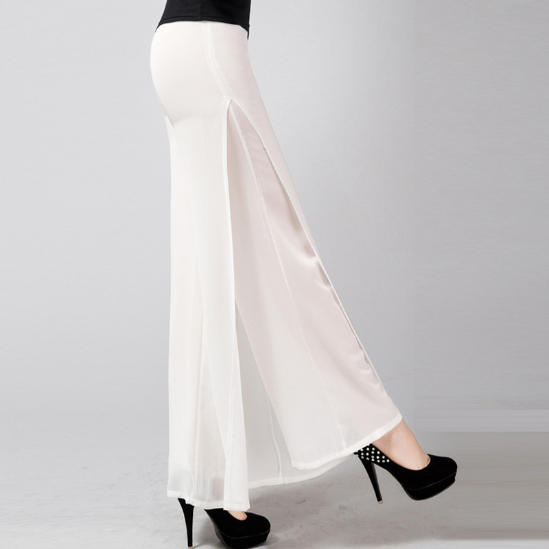 2019 new Ladies Fashion Pants Long Full Length Womens Wide Leg High Waist Side Split Chiffon Pants Summer Trousers Plus Size 6XL-in Pants & Capris from Women's Clothing    2
