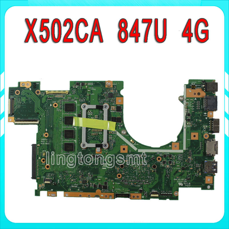 X502CA Laptop Motherboard X402CA REV2.1 with 847cpu 4g for ASUS  Mainboard Fully tested for asus x550lc laptop motherboard with i5 4200u cpu rev 2 0 mainboard fully tested