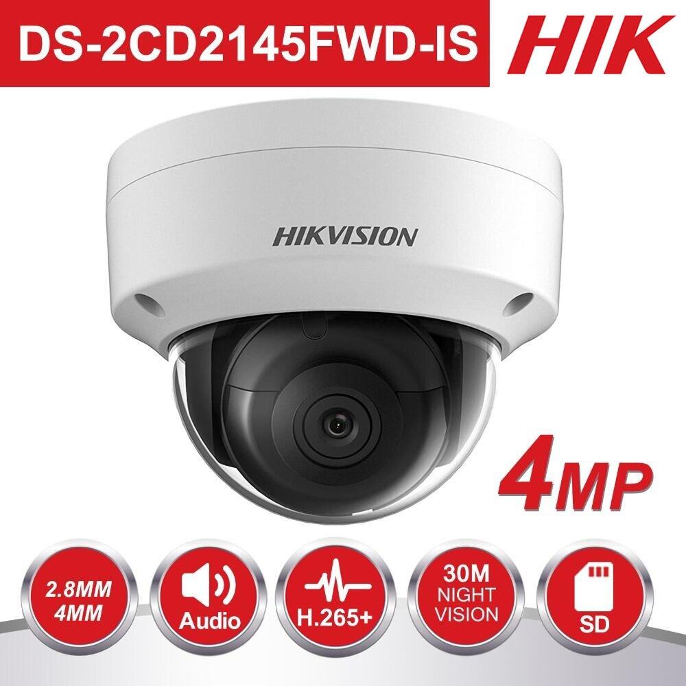 HIK PoE IP Camera Outdoor DS-2CD2145FWD-IS 4MP CMOS IR Dome CCTV Security Camera 30m Night version POE & Audio