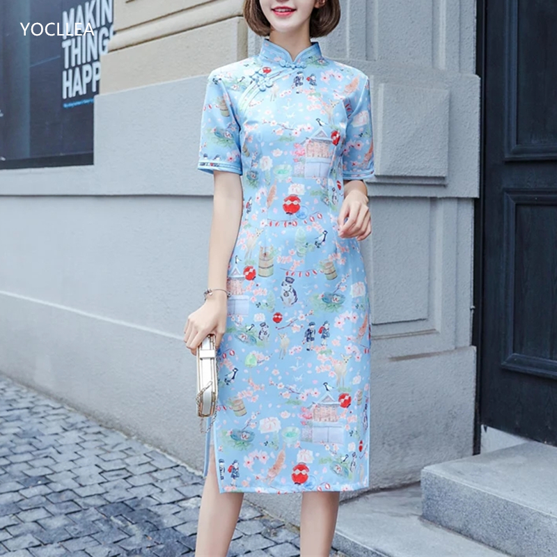 2018 NEW Girl Student Qipao Dress Chinese Women Daily Traditional clothing Autumn Winter Sweet Cheongsams Vestidos