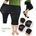Modal tamanho grande pant leggings além disso tamanho grande senhora verão feminino de fibra de bambu calças legging Capri preta