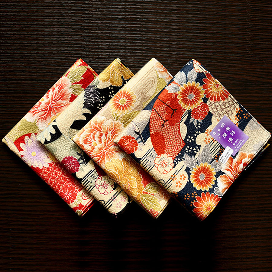 High Quality Women's Colorful Printing Red Crowned Crane Pattern Handkerchiefs Pure Cotton Ladies Soft Square Towel Hanky SY520