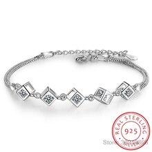 925 пробы Серебряный куб коробка браслеты и браслеты модный браслет для женщин Стерлинговое Серебро-ювелирные изделия