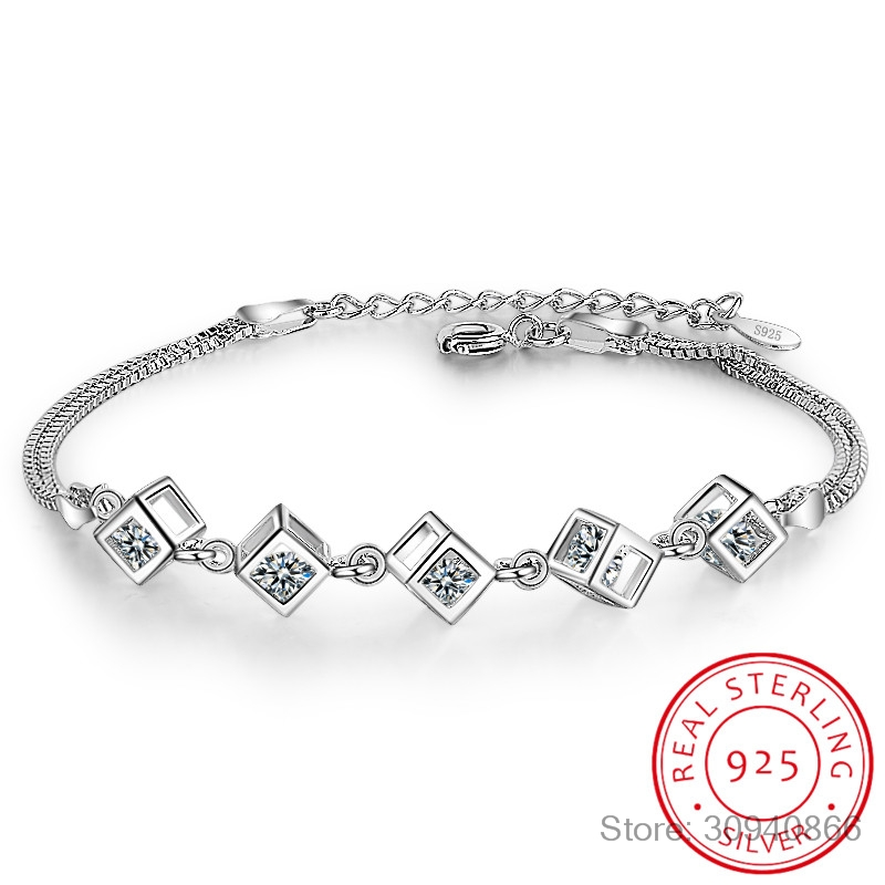 925 Sterling Silver Cube Box Bracelets & Bangles New Fashion Bracelet For Women Sterling-silver-jewelry