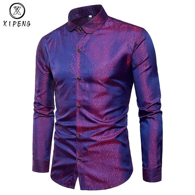 Mens Trend Night Club Shirts 2018 New Men Brand Clothing Party Shiny Long  Sleeve Camisa Masculina Wedding Dress Shirts XXXL ae1952034de41