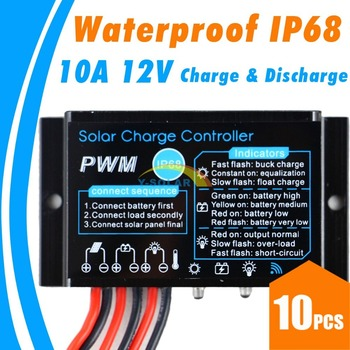 10PCS 10A Waterproof Solar Charge Controller with LED Dispaly IP68 Solar Charge Regulator Build-in Industrial micro controller