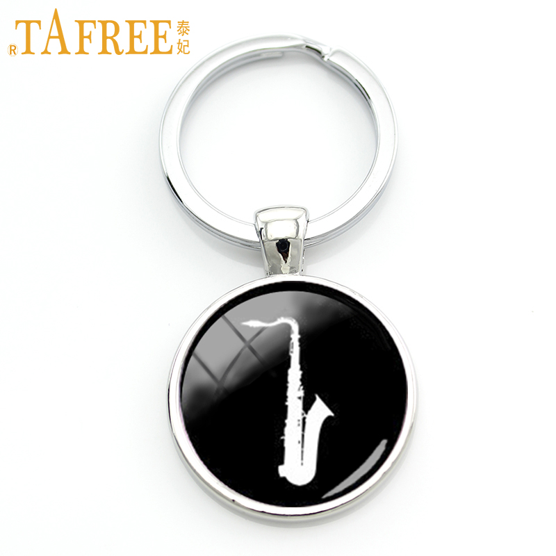 TAFREE 2017 Fashion Musical Instrument Jewelry Saxophone Silhouette Key Chain Musician Keychain Music Fans Lovers Gift KC502