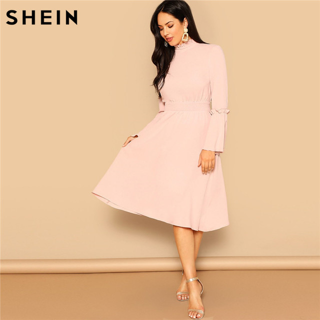 8f7fe5decf SHEIN Pink Party Solid Fit And Ruffle Stand Collar Knee Length Dress Women  Elegant Flared Long