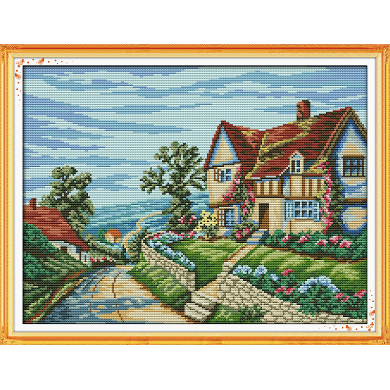 Everlasting Love Beautiful village Chinese cross stitch kits Ecological cotton stamped printed DIY Christmas decorations gift