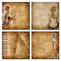 Vintage Piano Keys Music Notes Canvas Giclee Prints Electric Guitar Poster Metallic Microphone Wall Art Home