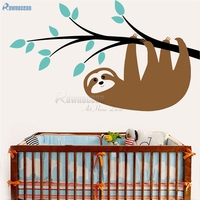 Luiaard Vangen De Tak Muur Art Sticker kinderkamer decor Nursery Decor Dieren Print Jungle Nursery Art Decoratie T-05