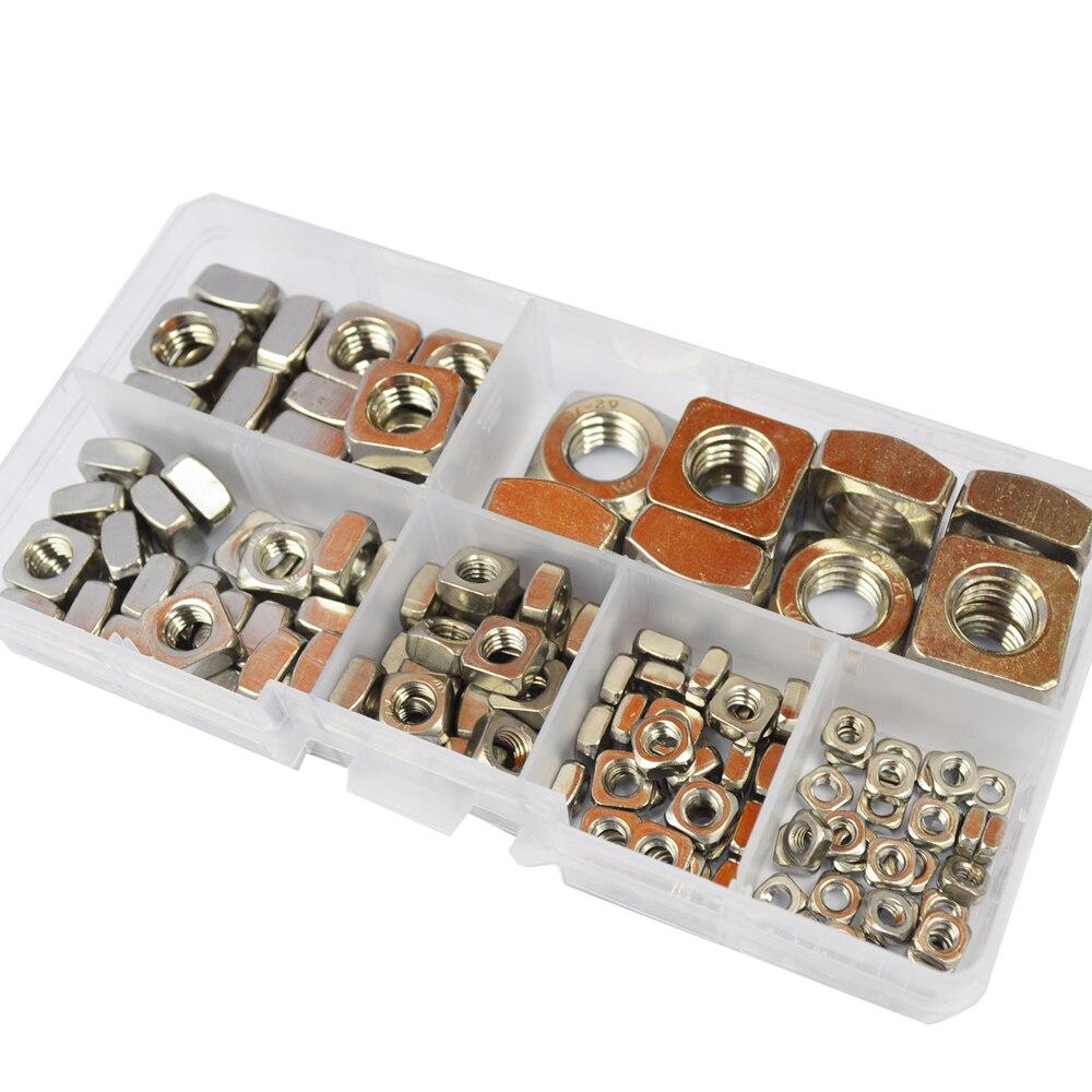 Square Nut Metric Threaded Nuts Fastener 304 Stainless Steel Set Assortment Kit M3 M4 M5 M6 M8 M10