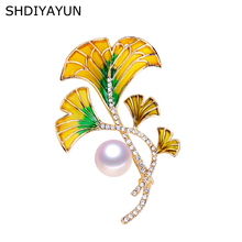 SHDIYAYUN 2019 New Pearl Brooch Natural Freshwater Creative Enamel Flower Simple Pins for Women Jewelry Gift