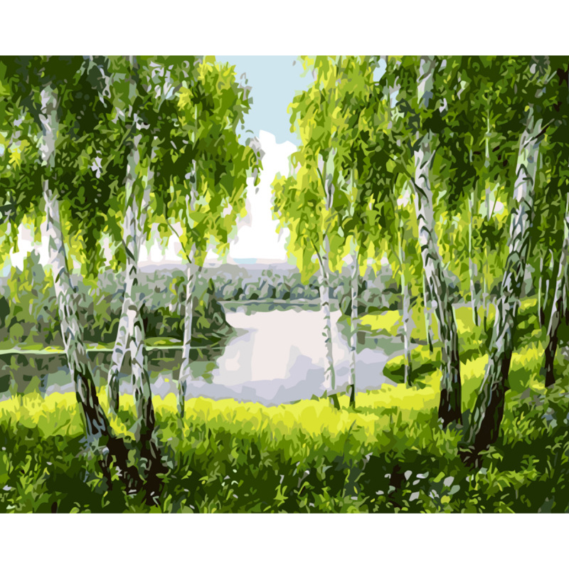 0329ZC171 Home wall Deco picture DIY number oil painting children Graffiti Poplar tree in the wild painting by numbers pretty girl in the lavender field oil painting