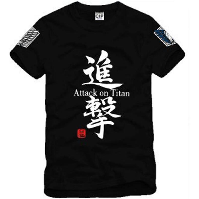 Japanese Anime Attack on Titan Cosplay Costume Shingeki no Kyojin Cartoon T-Shirt Tee 100% Cotton Golden Anime T Shirt