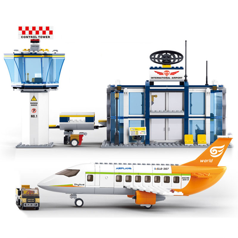0367 City Series The International Airport Airplane Cars Building Blocks Educational Toys for Children Christmas Gift Legoingse building blocks super heroes back to the future doc brown and marty mcfly with skateboard wolverine toys for children gift kf197
