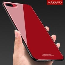 MAKAVO Caixa De Vidro Temperado para iPhone 8 Plus 7 X Luxo Hybrid Tampa Traseira À Prova de Choque Manga Habitação Difícil para iPhone8 iPhone7 10
