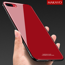 MAKAVO Tempered Glass Case for iPhone 8 Plus 7 X Luxury Hybrid Back Cover Shockproof Sleeve Hard Housing for iPhone8 iPhone7 10