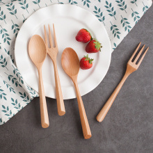 Set of 2pcs Wood Spoon Fork Cutlery Dinnerware Set Portable Soup Spoon Dinner Salad Fork Kids Catering Tableware Wooden Utensils